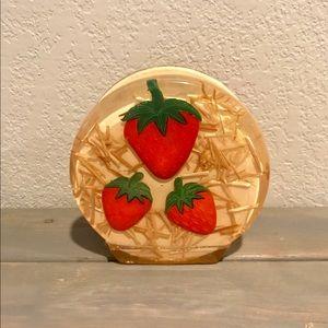 Vintage 1960s acrylic strawberry napkin holder